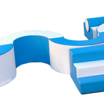 White and blue Climb and Balance soft play set.
